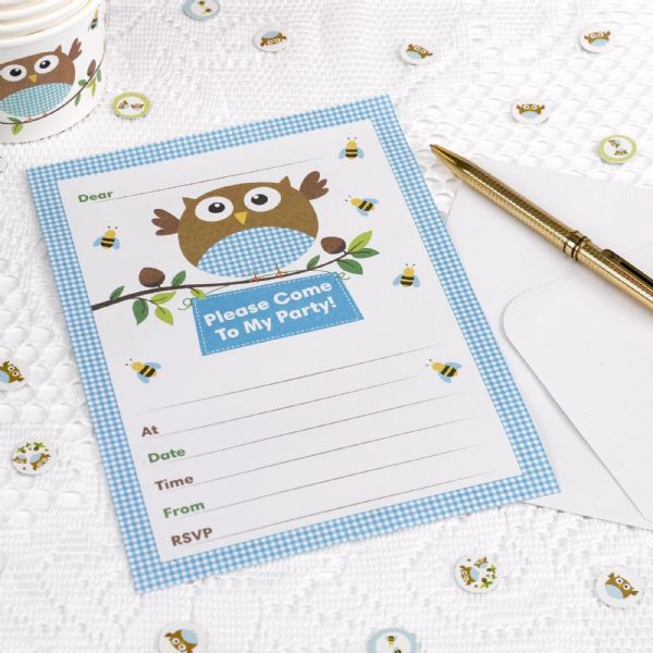 Little Owls Blue Invitations (10)